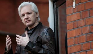 Julian Assange on the balcony of the Ecuadorian embassy in London in 2017