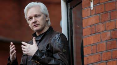 Julian Assange on the balcony of the Ecuadorian embassy in London in 2017