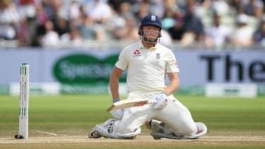 England batsman Jonny Bairstow reacts after being dismissed in the second innings