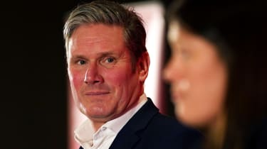 DURHAM, ENGLAND - FEBRUARY 23: Sir Keir Starmer, Shadow Secretary of State for Exiting the European Union looks on as Lisa Nandy, MP for Wigan addresses the audience during the Labour Party L