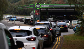 Queue for fuel at motorway station
