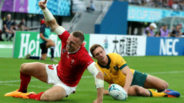 Wales centre Hadleigh Parkes celebrates his try against Australia at the Tokyo Stadium