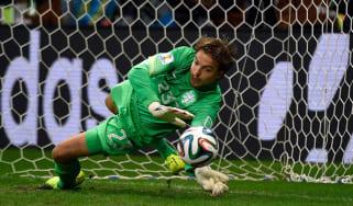Netherlands' goalkeeper Tim Krul saves a penalty