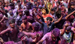 Holi celebrations in Guwahati in the northeast state of Assam