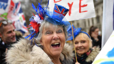 Pro-Brexit supporters outside the Houses of Parliament
