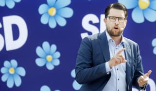 Jimmie Akesson, leader of the Sweden Democrats, campaigns in Sundsvall, Sweden