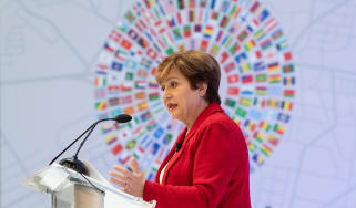 International Monetary Fund (IMF) Managing Director Kristalina Georgieva delivers her curtain raiser speech previewing the key issues to be addressed in the Annual Meetings in Washington, DC,