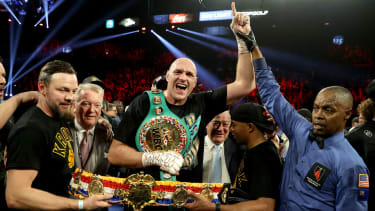 WBC and lineal heavyweight champion Tyson Fury celebrates his win over Deontay Wilder