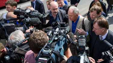 Ken Livingstone speaks to reporters moments before he was suspended from the Labour Party for suggesting Hitler was a Zionist