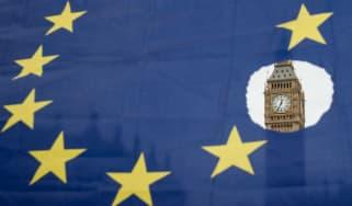 The Houses of Parliament seen through an EU flag