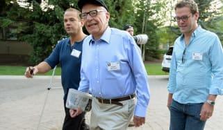 SUN VALLEY, ID - JULY 10:Media mogul Rupert Murdoch (C) executive chairman of News Corporation and chairman and CEO of 21st Century Fox; James Murdoch, (R) son ofRupert Murdoch and the deputy
