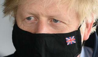 Boris Johnson in a mask