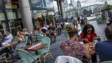 Diners at Tavolino restaurant in London Bridge on the launch day of the Eat Out to Help Out scheme