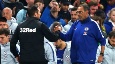 Frank Lampard's Derby County lost 3-2 against Maurizio Sarri's Chelsea in the Carabao Cup in October