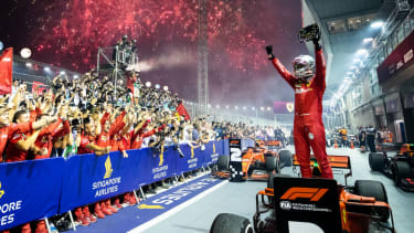Ferrari's Sebastian Vettel celebrates his victory at the 2019 F1 Singapore Grand Prix