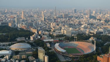 Aerial view of National Olympic Stadium which will host the opening and closing ceremonies