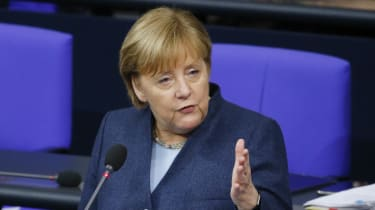 German Chancellor Angela Merkel answers questions in the Bundestag.