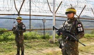 North and South Korea border guards