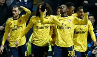 Eddie Nketiah celebrates his goal for Arsenal against Portsmouth in the FA Cup
