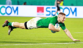 Andrew Conway scored Ireland's fourth try against Russia at the Rugby World Cup