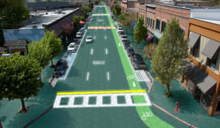 Artist's rendition of downtown Sandpoint, Idaho - Home of Solar Roadways