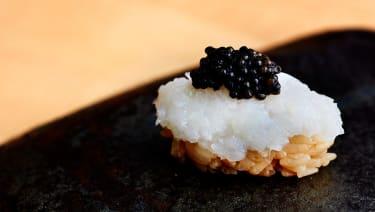 Squid and caviar nigiri at Maru