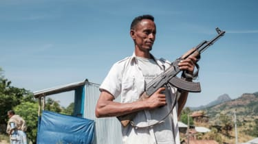 A member of the Tigray People's Liberation Front holding an assault rifle.
