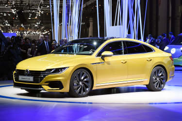 A picture taken in Geneva, on March 7, 2017 during the first press day of the 87th Geneva International Motor Show shows the Volkswagen Arteon.Europe's biggest annual car show kicks off in Ge