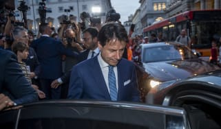 ROME, ITALY- AUGUST 27: Italian Prime Minister Giuseppe Conte leaves from Chigi palace during the consultations days for the formation of the new government, on August 27, 2019 in Rome, Italy