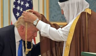Donald Trump receives the Order of Abdulaziz al-Saud medal from Saudi Arabia's King Salman bin Abdulaziz al-Saud