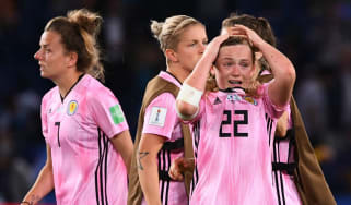 Dejected Scotland players react after their elimination from the Fifa Women's World Cup