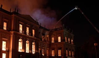 Firefighters battle to save Brazil's National Museum from a large blaze