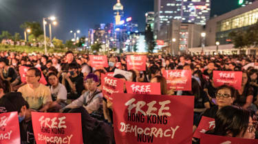 Protestors against China's national security law in 2019