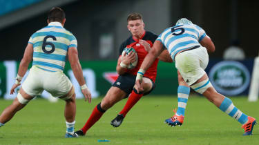 Argentina's Tomas Lavanini (No.5) was sent off for a high tackle on England's Owen Farrell