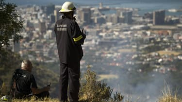 Cape Town firefighters on a hilltop