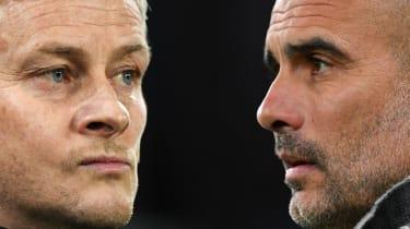 Man Utd manager Ole Gunnar Solskjaer and Man City boss Pep Guardiola