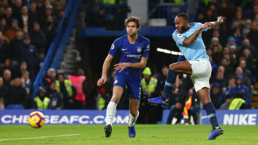 Raheem Sterling in action for Manchester City against Chelsea at Stamford Bridge