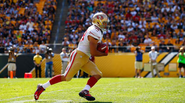 PITTSBURGH, PA - SEPTEMBER 20:Jarryd Hayne #38 of the San Francisco 49ers fields a punt against the Pittsburgh Steelers in the second half during the game at Heinz Field on September 20, 2015