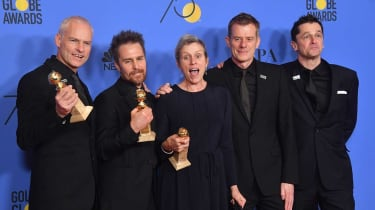 Cast of Three Billboards Outside Ebbing, Missouri pose with the award for best picture