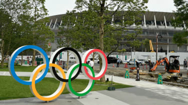 The Olympic rings outside of the National Stadium in Tokyo, Japan