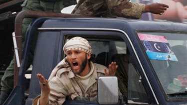 Libyan rebels after Nato friendly fire incident