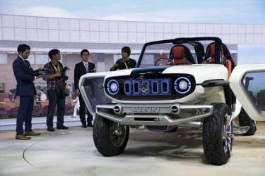 TOKYO, JAPAN - OCTOBER 25:Suzuki Motor Corp. e-Survivor sports utility vehicle is displayed during the Tokyo Motor Show at Tokyo Big Sight on October 25, 2017 in Tokyo, Japan. The 45th editio