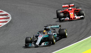 Lewis Hamilton leads Sebastian Vettel at the Spanish Grand Prix