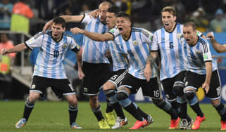Argentina celebrate after winning their semi-final