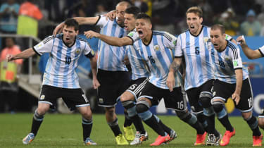 Argentina celebrate after winning their semi-final