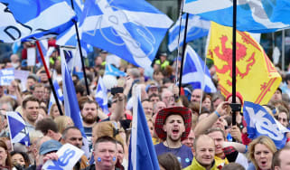 Pro-independence supporters march through Glasgow.