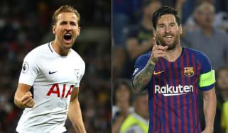 Harry Kane Lionel Messi Spurs vs. Barcelona Champions League