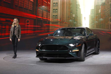 DETROIT, MI - JANUARY 14:Molly McQueen, the granddaughter of actor Steve McQueen, introduces the 2018 Ford Mustang Bullitt makes its debut at the 2018 North American International Auto Show J