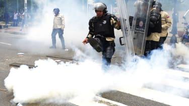 Riot police in Caracas