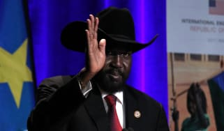 President of South Sudan Salva Kiir Mayardit waves during